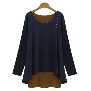 Stylish Scoop Collar Long Sleeve Color Block Beaded Spliced Faux Two Piece Women's T-Shirt
