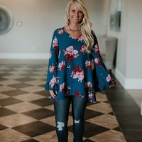 Ruffle Me Tunic- Teal Floral