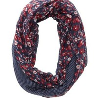 Mixed Pattern Infinity Scarf by Charlotte Russe - Navy Combo
