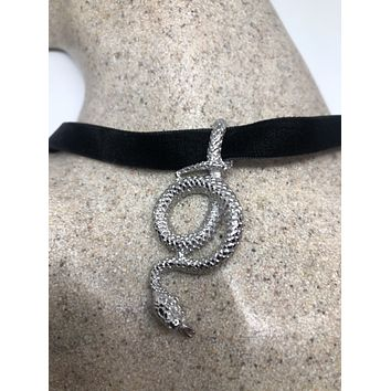 vintage stainless steel Snake Choker Necklace