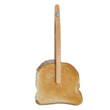 Magnetic Wooden Toast Tongs - Sticks To Toaster