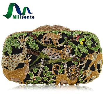 Milisente Women Luxury Crystal Clutch Evening Bags Animal Zoo Cltuches Bag Hollow Out Party Wholesale Green Purse s