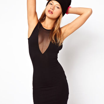 Black Mesh V-Neck Sleeveless Bodycon Dress