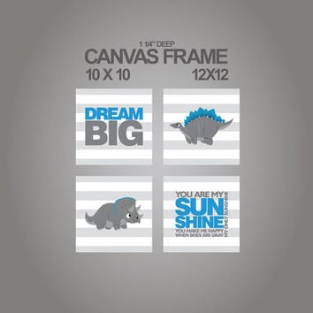 Canvas prints for nursery-dinosaur-Dream big- You are my sunshine nursery canvas set of 4 - 1-1/4'' deep frame- ready to hang