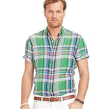 Polo Ralph Lauren Big & Tall Short-Sleeved Plaid Linen Shirt - Green