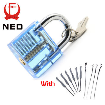 NED Blue Transparent Visible Pick Cutaway Practice Padlock Lock With Broken Key Removing Hooks Lock Extractor Set Locksmith Tool