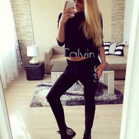 """Calvin Klein"" Fashion Letter Long Sleeve Shirt Sweater Pants Sweatpants Set Two-Piece Sportswear"