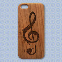 Treble Clef Wood Phone Case - Engraved Music iPhone Case - iphone 4/4s 5/5s 5C 6 cover music notes