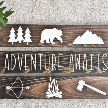 Woodland Nursery Decor / Woodland Children's Room Decor / Rustic Decor / Cabin Decor / Nursery Decor / Kids Signs / Outdoor Theme Signs