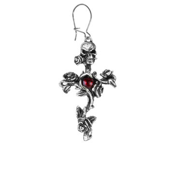 Alchemy Gothic Rose Thorn Cross Skull Earring