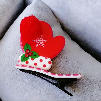 Acrylic Christmas duck duckbill folder cute hair ball baby clip hairpin Christmas gifts Gloves