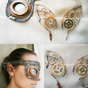 Elven/Elf Ear Cuffs/Wraps  and Eye patch - Steampunk Inspired