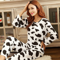 Sweet womens pajamas Animal printing Indoor Home Sleepwear Winter Long sleeve Pajamas