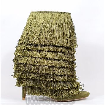 Nelly Bernal B Mambo Olive Fringe Open Toe 4.75 Stiletto High Heel Ankle Boots