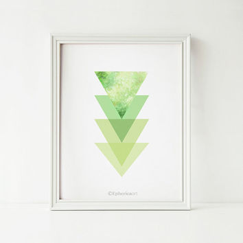 Green Triangles digital print, Green art Abstract wall art, Geometric art, Green Home decor art print, Green decor, Printable wall art print
