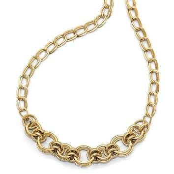 17mm Fancy Double Link Necklace in 14k Yellow Gold, 18 Inch