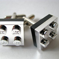 LEGO Silver Chrome Cufflinks with Black Accents (Pair)
