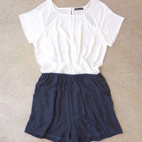 .Weekender White & Navy Romper [6962] - $36.00 : Feminine, Bohemian, & Vintage Inspired Clothing at Affordable Prices, deloom
