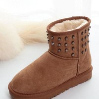 New Camel Round Toe Flat Rivet Fashion Ankle Boots