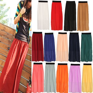 Elegant Women Chiffon Pleated Long Maxi Skirt Elastic Waistband New = 1946225604