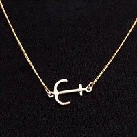 Gold Sideways Anchor Necklace from Black Tied
