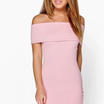 Petite Melanie Oversized Bardot Bodycon Dress | Boohoo