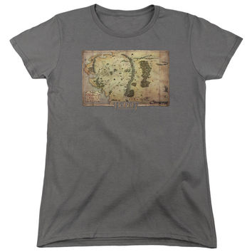 The Hobbit Middle Earth Map Charcoal Womens T-Shirt