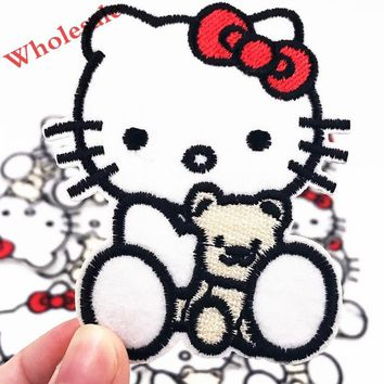 Free 10PCS Bear Hello Kitty Cat girls Embroidered Patch Iron on Sewing on Applique Patch Clothes Shoes Bags DIY Badges Patches