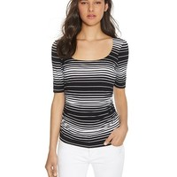 White House   Black MarketElbow Sleeve Ruched Stripe Top