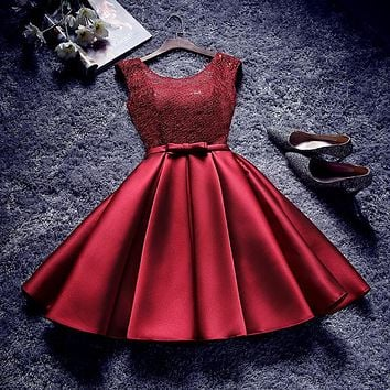Cheap Short Bridesmaid Dresses under $50 Lace Satin Maid of Honor Wedding Party Dress available in Burgundy Champagne
