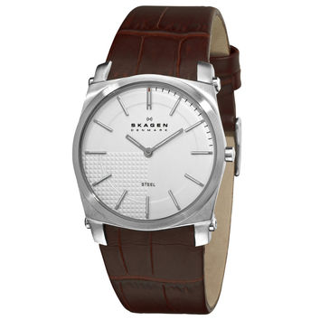 Skagen 859LSLC Men's Denmark Silver Dial Brown Leather Strap Quartz Watch