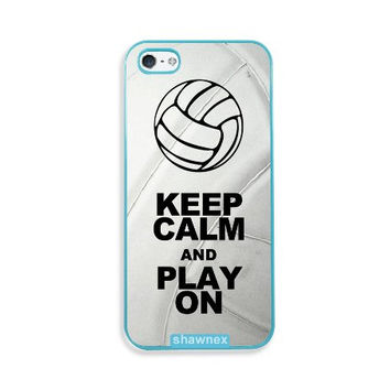 Shawnex Volleyball Keep Calm Play On Volleyball Player Aqua Plastic iPhone 5 & 5S Case - Fits iPhone 5 & 5S