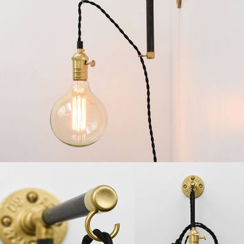 Wall Sconce Modern Wood Industrial Pipe - Custom Made - Brass Copper Black White - Plug wall light fixture with switch antique edison bulb