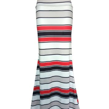 Streetstyle  Casual Simple Striped Mermaid Maxi Skirt