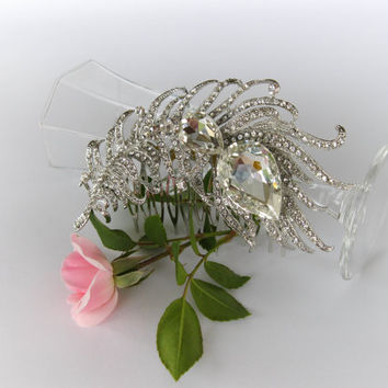 "Swarovski Crystals Bridal Hair Comb ""Peacock Feather"", Wedding Crystal Comb, Wedding Hair Piece, Rhinestone Comb, Wedding Hair Accessories"