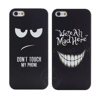"""Don't Touch My Phone ""and"" We're All Mad Here"" Style Shell Hard Plastic Case Cover for Apple iPhone X 8 8 Plus 7 7 Plus 6 6S Plus 5 5S 5C SE 4 4S IHC001"