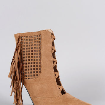 Suede Perforated Fringe Pointy Toe Stiletto Booties