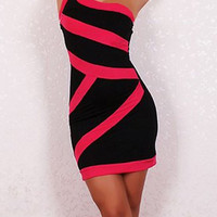 Pink and Black One Shoulder Bodycon Dress