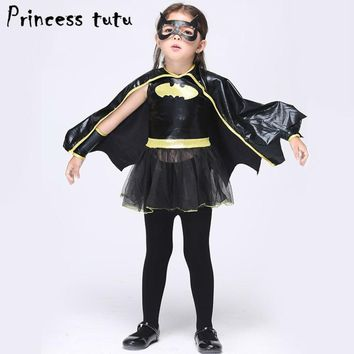 Batman Dark Knight gift Christmas PRINCESS TUTU Batgirl Costume Cosplay Batman Girls Clothing Sets Fake Pu Leather Dress Superhero Capes Kids Clothes Set kc003 AT_71_6