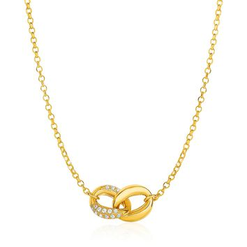 14K Yellow Gold and Diamond Oval and Crescent Moon Link Necklace (1/10 ct. tw.)