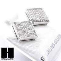 Iced Out Sterling Silver .925 Lab Diamond 9mm Square Screw Back Earring SE006S