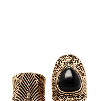 Faux Stone Etched Ring Set | Forever 21 - 1000185949