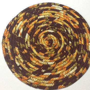 Thanksgiving Coiled Rope Trivet, Autumn Hot Pad, Coiled Rope Trivet, Quiltsy Handmade
