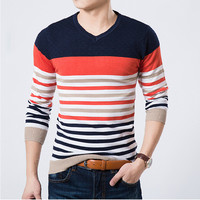 2018 High Quality Casual Sweater Men Pullovers Brand winter Knitting long sleeve v-Neck slim Knitwear Sweaters size M-XXL