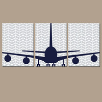 AIRPLANE Wall Art Boy Nursery Artwork Child Plane Theme Fly Custom Transportation Personalized Choose Colors Set of 3 Trio Prints Baby Three