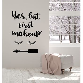 Vinyl Wall Decal Eyelash Makeup Cosmetics Mascara Beauty Salon Quote Stickers Mural (g955)