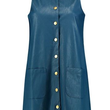 Morris Button Popper PU Pinafore Dress