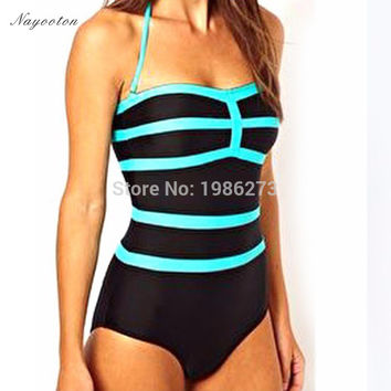 2016 new spell color sky blue stitching simple piece swim swimwear cover the belly was thin swimsuit Conservative Europe D036