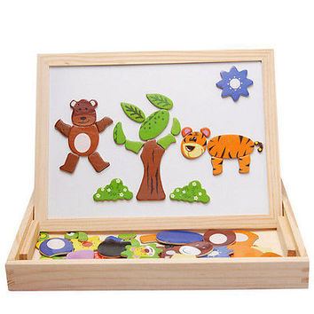 Chic Baby Multifunctional Wooden Magnetic Drawing Board Double Easel Puzzle HUCA