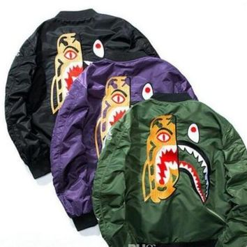 9Autumn and winter popular tide brand shark baseball version of the US Air Force MA1 pilot jacket embroidered men's jacket nasa aape supp